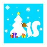 Κάρτα Χριστουγέννων με το σκίουρο και fir-tree Στοκ Φωτογραφίες