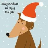 Κάρτα Χριστουγέννων με το σκυλί κινούμενων σχεδίων απεικόνιση αποθεμάτων