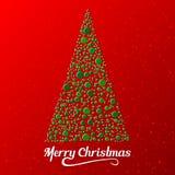 Κάρτα Χριστουγέννων με το τυποποιημένο σχέδιο δέντρων πεύκων επίσης corel σύρετε το διάνυσμα απεικόνισης Απεικόνιση αποθεμάτων