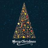 Κάρτα Χριστουγέννων με το τυποποιημένο σχέδιο δέντρων πεύκων επίσης corel σύρετε το διάνυσμα απεικόνισης Διανυσματική απεικόνιση