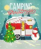 Κάρτα Χριστουγέννων με το χειμερινό στρατόπεδο επίσης corel σύρετε το διάνυσμα απεικόνισης απεικόνιση αποθεμάτων
