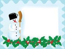 Κάρτα Χριστουγέννων με το χιονάνθρωπο Στοκ φωτογραφίες με δικαίωμα ελεύθερης χρήσης
