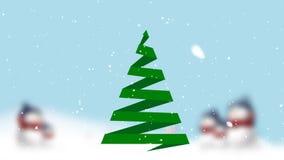 Κάρτα Χριστουγέννων με το χριστουγεννιάτικο δέντρο και το χιόνι απόθεμα βίντεο