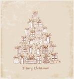 Κάρτα Χριστουγέννων με το χριστουγεννιάτικο δέντρο Στοκ Εικόνα