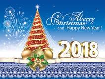 2018 κάρτα Χριστουγέννων με το χριστουγεννιάτικο δέντρο Στοκ Εικόνες