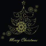 Κάρτα Χριστουγέννων με το χρυσό δέντρο στη μαύρη ανασκόπηση Στοκ Φωτογραφίες