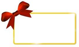 Κάρτα Χριστουγέννων με το χρυσό κόκκινο τόξο πλαισίων Στοκ Φωτογραφία