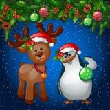 Κάρτα Χριστουγέννων με το penguin και έναν τάρανδο διανυσματική απεικόνιση