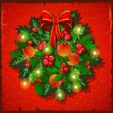 Κάρτα Χριστουγέννων προτύπων Εορταστικό στεφάνι με το τόξο επίσης corel σύρετε το διάνυσμα απεικόνισης ελεύθερη απεικόνιση δικαιώματος