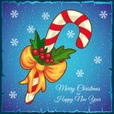 Κάρτα Χριστουγέννων προτύπων Κάλαμος καραμελών σε ένα μπλε υπόβαθρο επίσης corel σύρετε το διάνυσμα απεικόνισης ελεύθερη απεικόνιση δικαιώματος