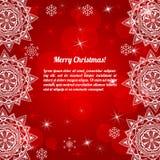 Κάρτα Χριστουγέννων πρόσκλησης με αφηρημένα snowflakes Στοκ Φωτογραφίες