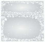 Κάρτα Χριστουγέννων πλαισίων σε ένα ασημένιο υπόβαθρο με τα αστέρια Στοκ φωτογραφία με δικαίωμα ελεύθερης χρήσης
