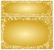 Κάρτα Χριστουγέννων πλαισίων σε ένα χρυσό υπόβαθρο με τα αστέρια Στοκ Εικόνα