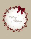 Κάρτα Χριστουγέννων - στεφάνι με τα μούρα Στοκ Φωτογραφίες