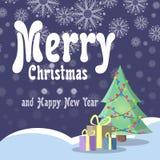 Κάρτα Χριστουγέννων στο αναδρομικό ύφος Το χριστουγεννιάτικο δέντρο με τις γιρλάντες στέκεται στο χιόνι κάτω από τα κιβώτια με τα Στοκ Εικόνες