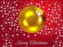 Κάρτα Χριστουγέννων στο κόκκινο με το χρυσό μπιχλιμπίδι Στοκ Εικόνες
