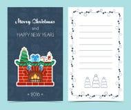 Κάρτα Χριστουγέννων στο μέτωπο και το εσωτερικό Ευθυμία Χριστουγέννων Επίπεδο σχέδιο διάνυσμα διανυσματική απεικόνιση