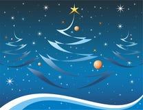 Κάρτα Χριστουγέννων στο μπλε χρώμα Στοκ εικόνα με δικαίωμα ελεύθερης χρήσης