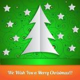 Κάρτα Χριστουγέννων στο ύφος origami Στοκ Εικόνες