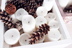 Κάρτα Χριστουγέννων, ταπετσαρίες Χριστουγέννων Χριστούγεννα ζωής ακόμα καλή χρονιά Κερί Στοκ φωτογραφίες με δικαίωμα ελεύθερης χρήσης