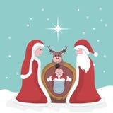 Κάρτα Χριστουγέννων της γέννησης του Ιησού διανυσματική απεικόνιση