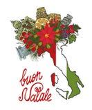 Κάρτα Χριστουγέννων της Ιταλίας Σχεδιαζόμενος χέρι doodle χάρτης ελεύθερη απεικόνιση δικαιώματος