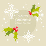 Κάρτα Χριστουγέννων της Holly Στοκ Εικόνες