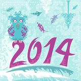 κάρτα Χριστουγέννων του 2014 με την κουκουβάγια Στοκ Εικόνες