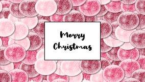 Κάρτα Χριστουγέννων Χαρούμενα Χριστούγεννας με το κόκκινο μπιχλιμπίδι κερασιών ως υπόβαθρο, ζουμ μέσα φιλμ μικρού μήκους