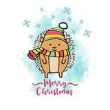 Κάρτα Χριστουγέννων Doodle με τον ντυμένο σκαντζόχοιρο ελεύθερη απεικόνιση δικαιώματος