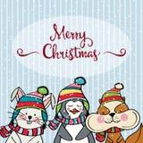 Κάρτα Χριστουγέννων Doodle διανυσματική απεικόνιση