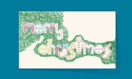 Κάρτα Χριστουγέννων doodle Στοκ Φωτογραφία