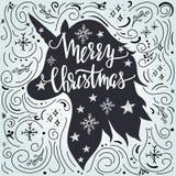 Κάρτα Χριστουγέννων greeteng με την εγγραφή σκιαγραφιών και χεριών μονοκέρων απεικόνιση αποθεμάτων
