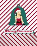 Κάρτα Χριστουγέννων Santarina Στοκ εικόνα με δικαίωμα ελεύθερης χρήσης