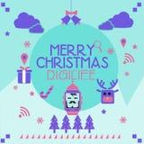 Κάρτα Χριστουγέννων Smartwatch Στοκ Φωτογραφίες