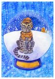 Κάρτα Χριστουγέννων Watercolor με τη λεοπάρδαλη χιονιού σε ένα καπέλο και ένα μαντίλι απεικόνιση αποθεμάτων