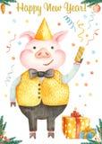 Κάρτα Χριστουγέννων Watercolor με το χαριτωμένο χοίρο κινούμενων σχεδίων Σύμβολο του έτους 2019 απεικόνιση αποθεμάτων