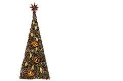 Κάρτα χριστουγεννιάτικων δέντρων φιαγμένη από τσάι στοκ εικόνα