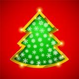 Κάρτα χριστουγεννιάτικων δέντρων με τα χρυσά σύνορα απεικόνιση αποθεμάτων