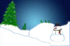Κάρτα χριστουγεννιάτικων δέντρων με το χιόνι και το χιονάνθρωπο Στοκ Εικόνες
