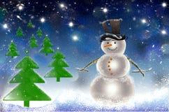 Κάρτα χριστουγεννιάτικων δέντρων με το χιόνι και το χιονάνθρωπο Στοκ Φωτογραφία