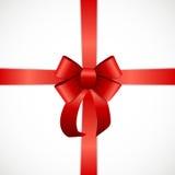 Κάρτα δώρων με την κόκκινα κορδέλλα και το τόξο επίσης corel σύρετε το διάνυσμα απεικόνισης Στοκ Εικόνες
