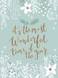 Κάρτα Callygraphic Χριστουγέννων - συρμένη χέρι floral διανυσματική απεικόνιση διανυσματική απεικόνιση