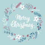 Κάρτα Callygraphic Χριστουγέννων - συρμένο χέρι floral Β διανυσματική απεικόνιση