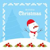 Κάρτα Chrismtmas με το άτομο πλαισίων και χιονιού Στοκ φωτογραφία με δικαίωμα ελεύθερης χρήσης