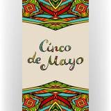 Κάρτα Cinco de Mayo με συρμένη τη χέρι περίκομψη εγγραφή ελεύθερη απεικόνιση δικαιώματος