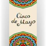 Κάρτα Cinco de Mayo με την περίκομψη εγγραφή ελεύθερη απεικόνιση δικαιώματος