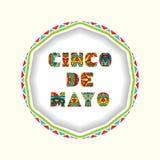 Κάρτα Cinco de Mayo με τις φωτεινές περίκομψες επιστολές διανυσματική απεικόνιση