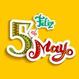 Κάρτα Cinco de Mayo Feliz με τις φωτεινές περίκομψες επιστολές απεικόνιση αποθεμάτων