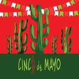 Κάρτα Cinco de Mayo Succulents και κόκκινα πιπέρια τσίλι Πλαίσιο ορθογωνίων Ελεύθερη απεικόνιση δικαιώματος